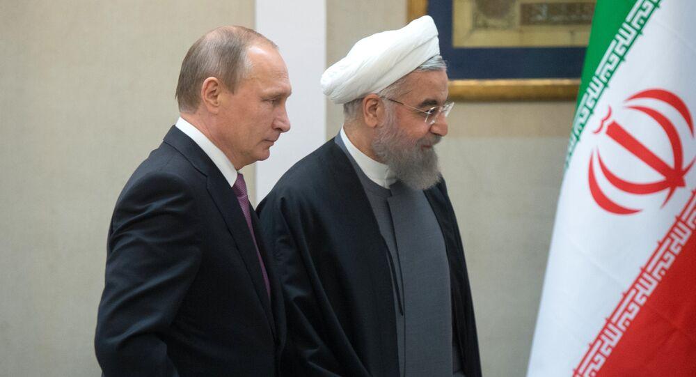 Presidente da Rússia com o seu homólogo iraniano Hassan Rouhani