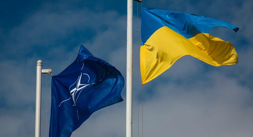 Bandeiras da Ucrânia e da OTAN (foto de arquivo)