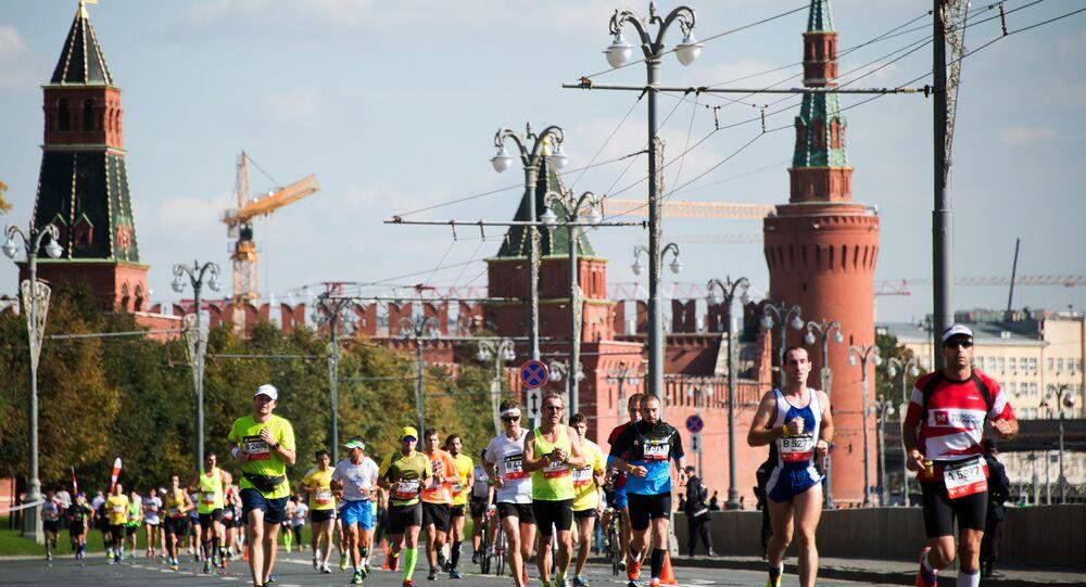 Os corredores competem na Maratona de Moscovo, em 20 de setembro de 2015, no centro de Moscou.