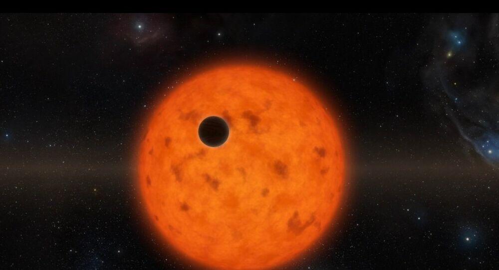 Estrela jovem e o seu planeta-bebê (Ilustração)
