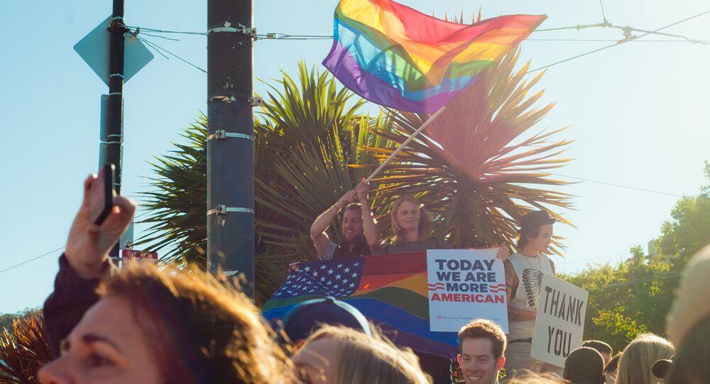 As bandeiras dos EUA e LGBT