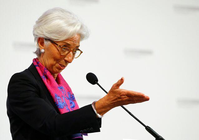 A chefe do FMI, Christine Lagarde, discursa durante um evento em Viena em 17 de junho de 2016