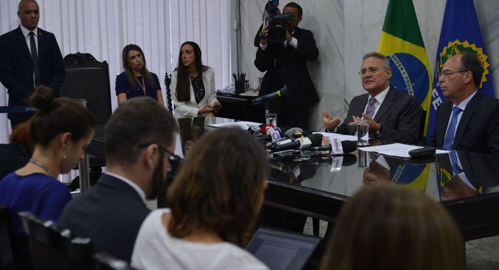 Entrevista coletiva do presidente do Senado, Renan Calheiros