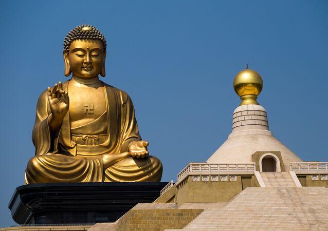 Esta foto de arquivo mostra uma estátua de Buda no mosteiro de Fo Guang Sang, em Gaoxiong, em Taiwan