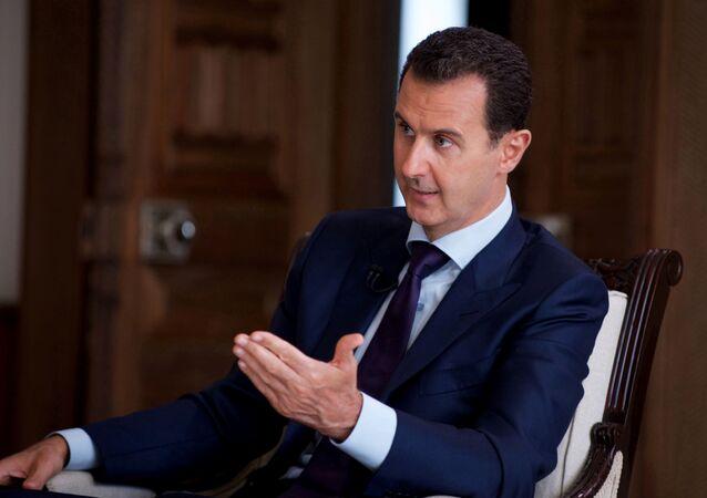 Presidente sírio, Bashar Assad, durante uma entrevista