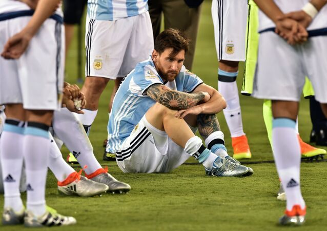 Argentina's Lionel Messi waits to receive the second place medal during the Copa America Centenario awards ceremony in East Rutherford, New Jersey, United States, on June 26, 2016