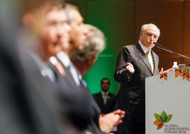 Presidente interino Michel Temer durante abertura da Global Agribusiness Fórum 2016, em São Paulo