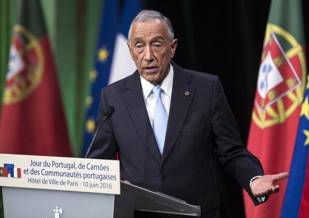 Presidente de Portugal Marcelo Rebelo de Sousa fala na festa do Dia Nacional de Portugal em Paris, França, 10 de junho de 2016