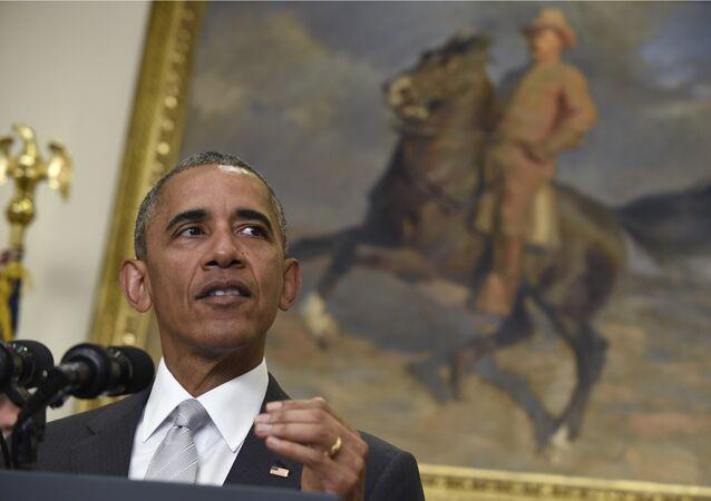 Barack Obama fala sobre Afeganistão na Casa Branca, em 6 de julho de 2016
