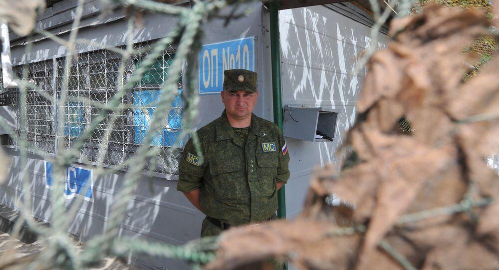 Posto de controle dos pacificadores russos na cidade de Bender, Moldávia (foto de arquivo)