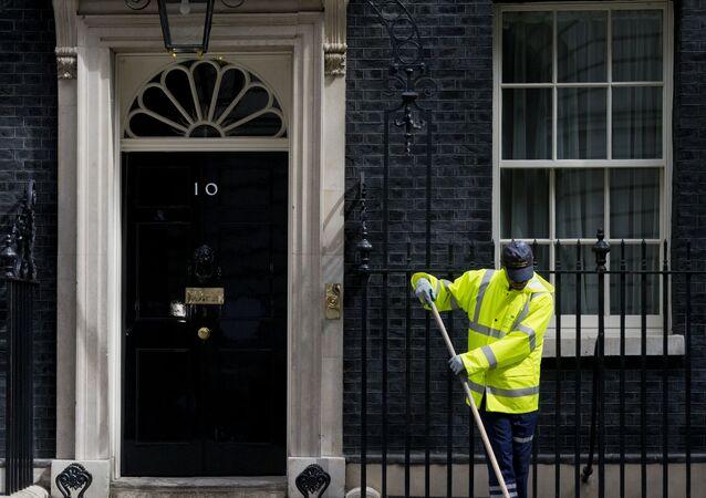 Residência oficial e escritório do primeiro-ministro britânico em Downing Street, 10, Londres, Reino Unido, junho de 2016
