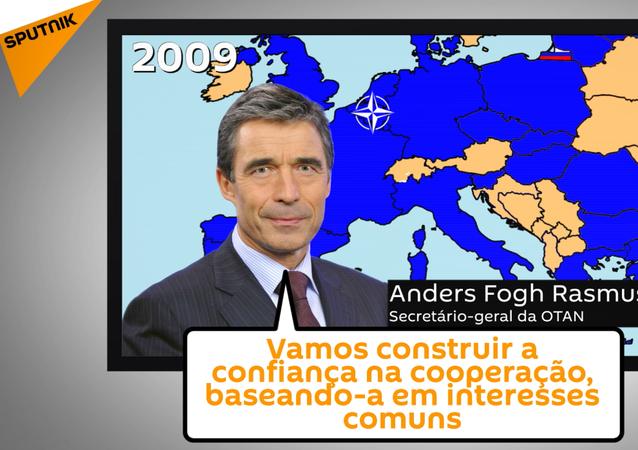 Screenshot do vídeo sobre a história curta das relações da Rússia e OTAN