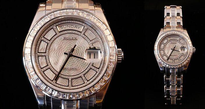 Um relógio de pulso Rolex