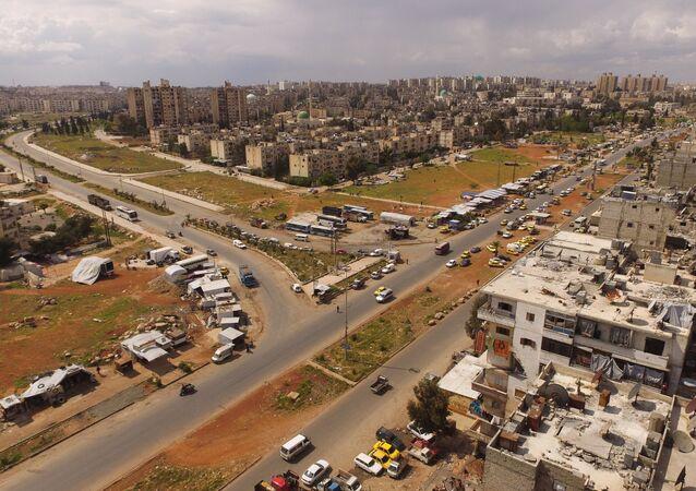 Vista aérea da cidade de Aleppo, na Síria, em abril de 2016
