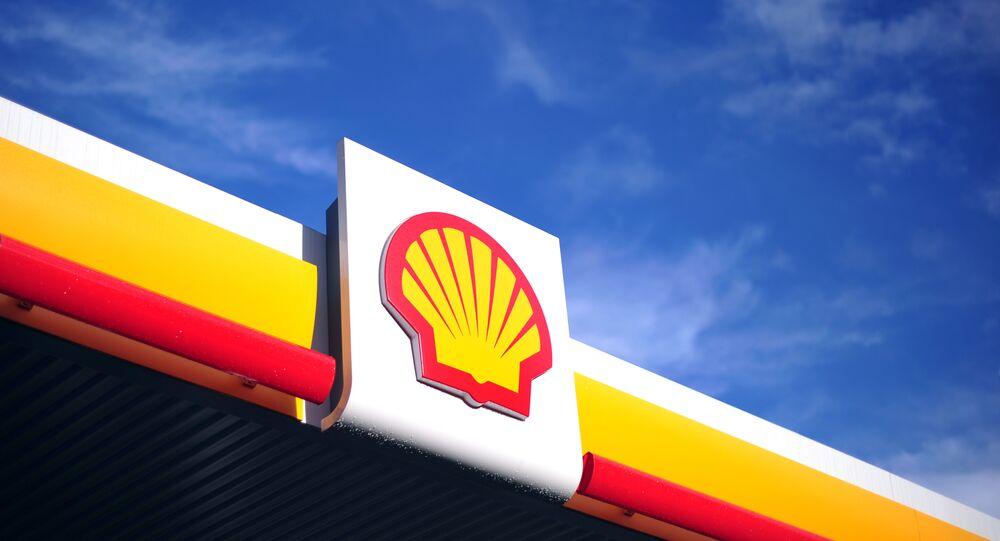 Logo da Shell em um posto de gasolina de Londres