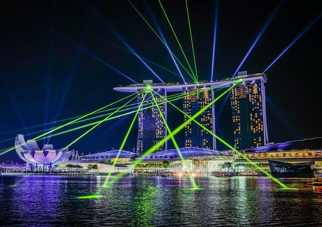 Apresentação de luz em Singapore