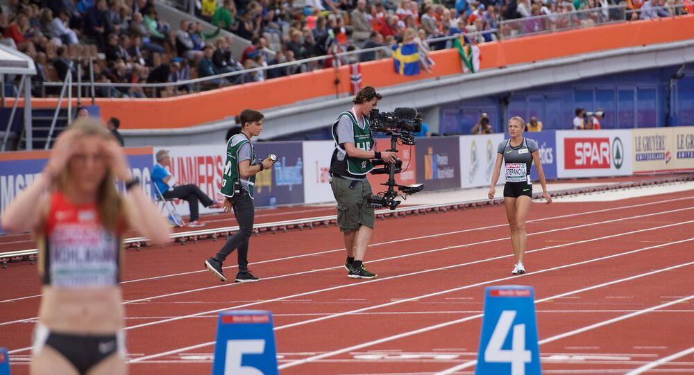 A russa Yulia Stepanova durante o Campeonato Europeu de Atletismo em 6 de julho de 2016