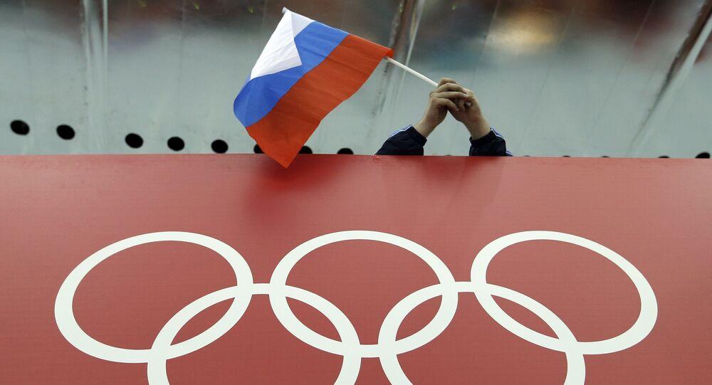Bandeira russa em um estádio