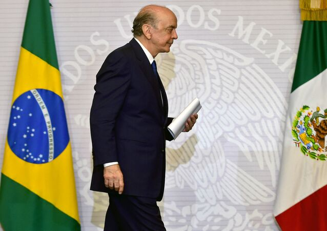 O ministro das Relações Exteriores do Brasil, José Serra, em visita ao México, em 25 de julho de 2016