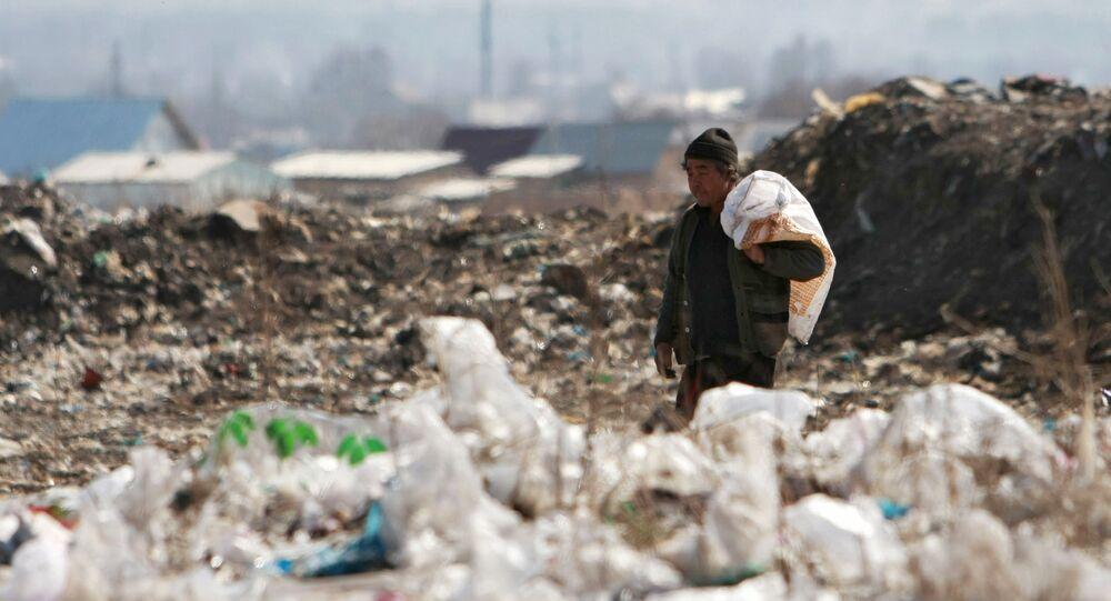 sacos de plástico em um monturo