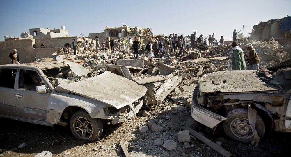 Área destruída por ataques da coalizão internacional liderada pela Arábia Saudita no Iêmen (arquivo)
