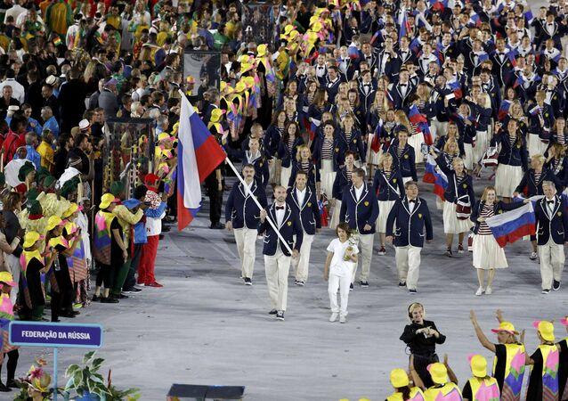 Equipe russa na cerinômia de abertura dos Jogos Olímpicos. 05.08.2016