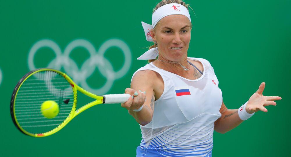 Tenista russa Svetlana Kuznetsova durante partida nos Jogos Olímpicos Rio 2016