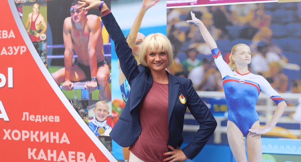 Ex-ginasta e vice-presidente da Federação Russa de Ginástica, Svetlana Khorkina, na Casa da Rússia nos Jogos Olímpicos Rio-2016