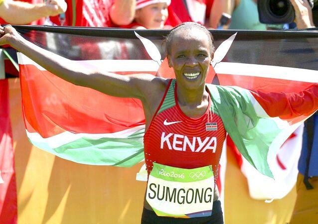 Jemina Sungong conquistou o 1º ouro olímpico da história do Quênia na história da maratona feminina