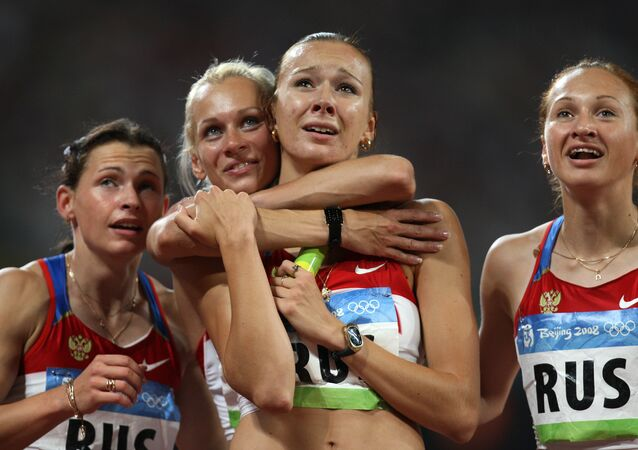 Equipe de revezamento da Rússia no atletismo nas Olimpíadas de 2008