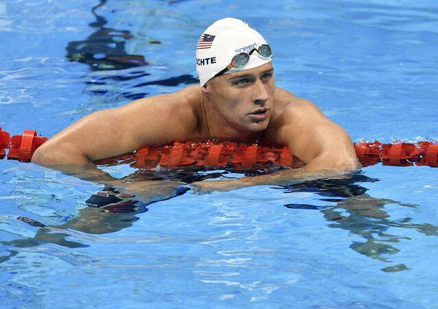 Ryan Lochte depois de um treino de 4x200 em 9 de agosto de 2016, na Olimpíada do Rio 2016