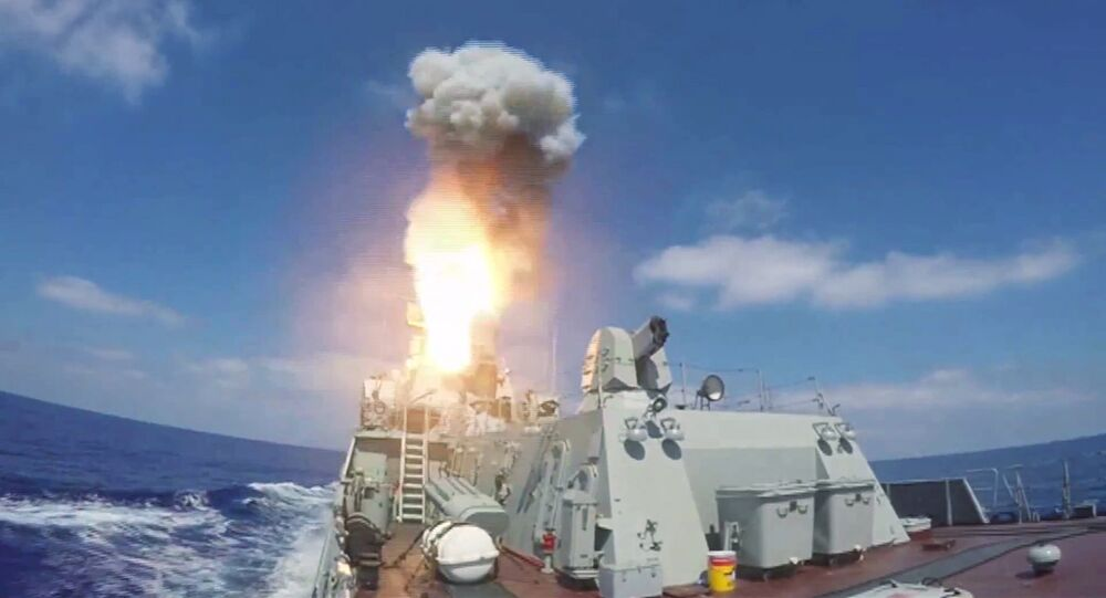 Lançamento de mísseis de cruzeiro Kalibr contra terroristas na Síria, 19 de agosto