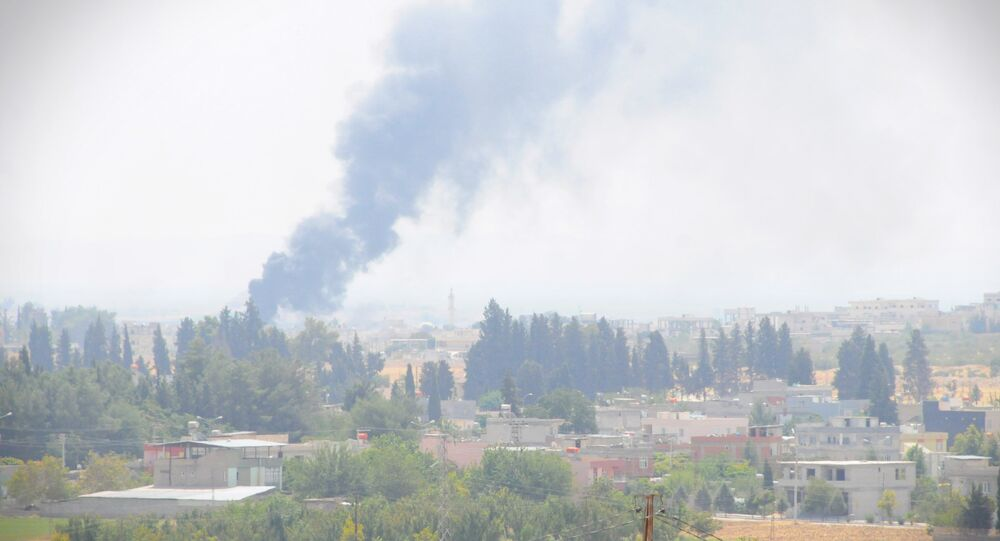 Vista da uma localidade perto de Jarablus em 24 de agosto de 2016, depois do início da operação turca