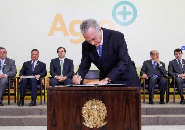 Michel Temer durante cerimônia de lançamento do Plano Agro+