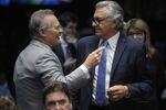 Presidente do Senado Federal, senador Renan Calheiros (PMDB-AL) e senador Ronaldo Caiado (DEM-GO) em plenário do Senado Federal durante sessão deliberativa extraordinária que trata do julgamento do processo de impeachment da presidente afastada Dilma Roussefff por suposto crime de responsabilidade.