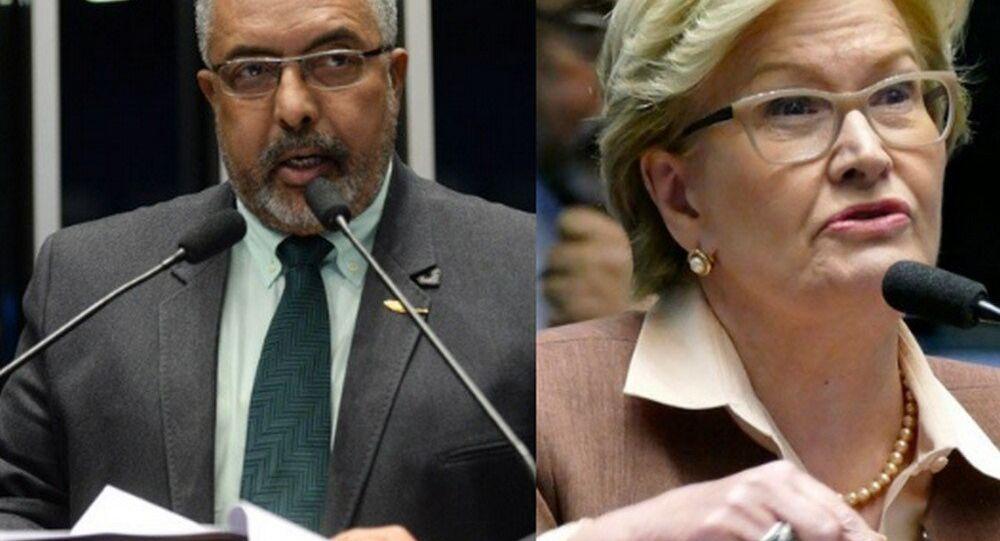 Senadores Paulo Paim (PT-RS) e Ana Amélia (PP-RS)