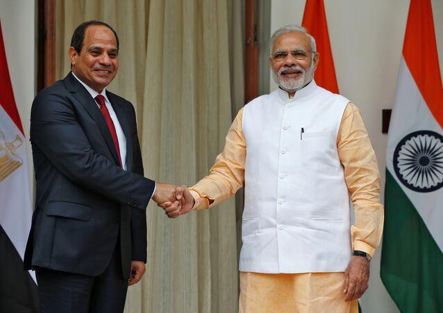 Abdel Fattah al-Sisi e Narendra Modi em encontro no Palácio Hyderabad