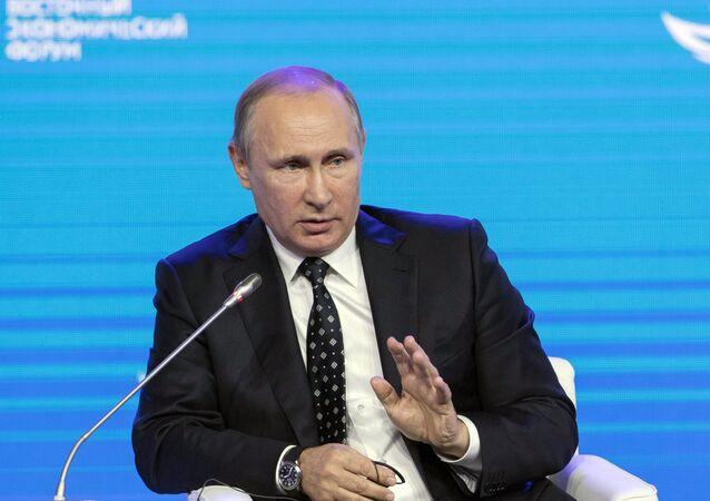 Vladimir Putin, presidente da Rússia, durante discurso no Fórum Econômico Oriental de Vladivostok, em 3 de setembro de 2016