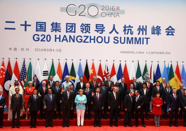 Foto em grupo dos líderes do G20 na cerimônia da abertura da cúpula, Hangzhou, 4 de stembro de 2016