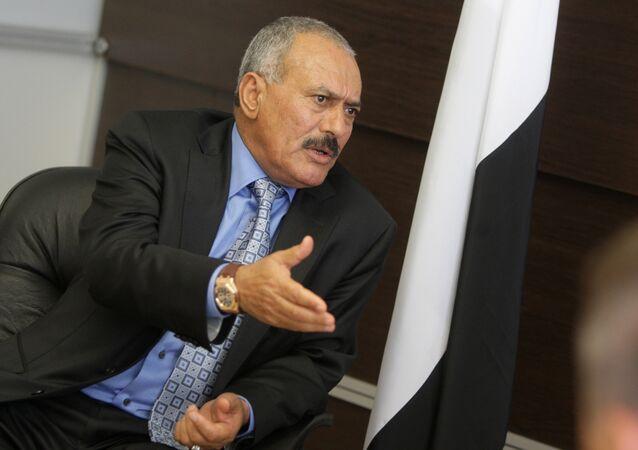 Presidente do Iêmen Ali Abdullah Saleh durante o encontro com Vladimir Putin, 2010 (foto de arquivo)