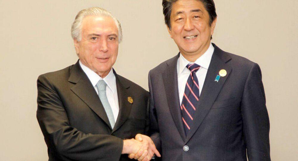 Michel Temer durante encontro bilateral com o primeiro-ministro do Japão,  Shinzo Abe, na cúpula do G20