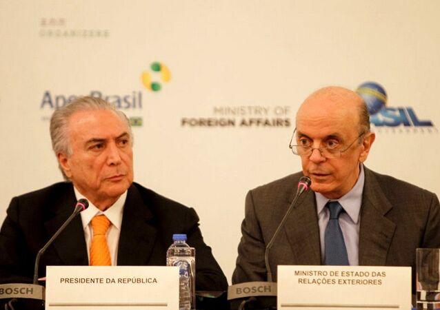 O chanceler José Serra acompanhou o presidente Michel Temer na reunião da Cúpula do G20, na China