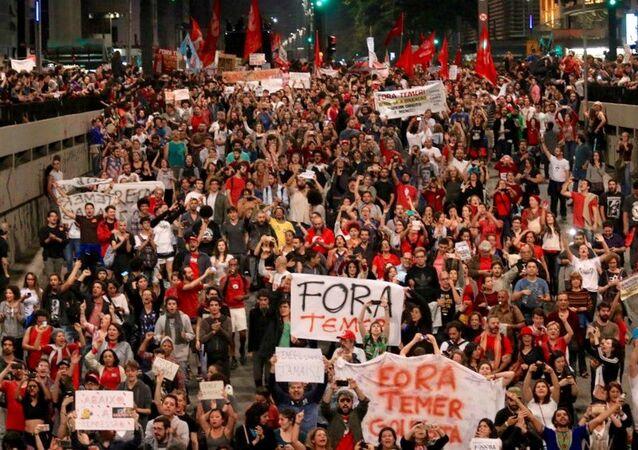 Protesto contra Temer em São Paulo