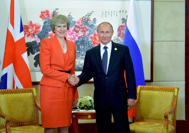 September 4, 2016. Russian President Vladimir Putin and British Prime Minister Theresa May during a meeting held as part of the G20 Summit in Hangzhou.