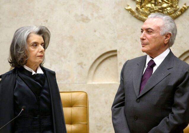 Ministra Cármen Lúcia, presidente do STF, e Michel Temer, presidente do Brasil (arquivo)