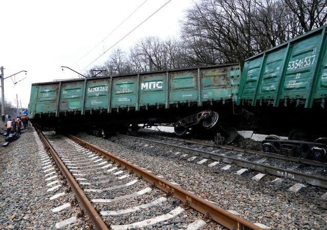 Vagões ferroviários descarrilaram na cidade de Yasinovataya na República Popular de Donetsk