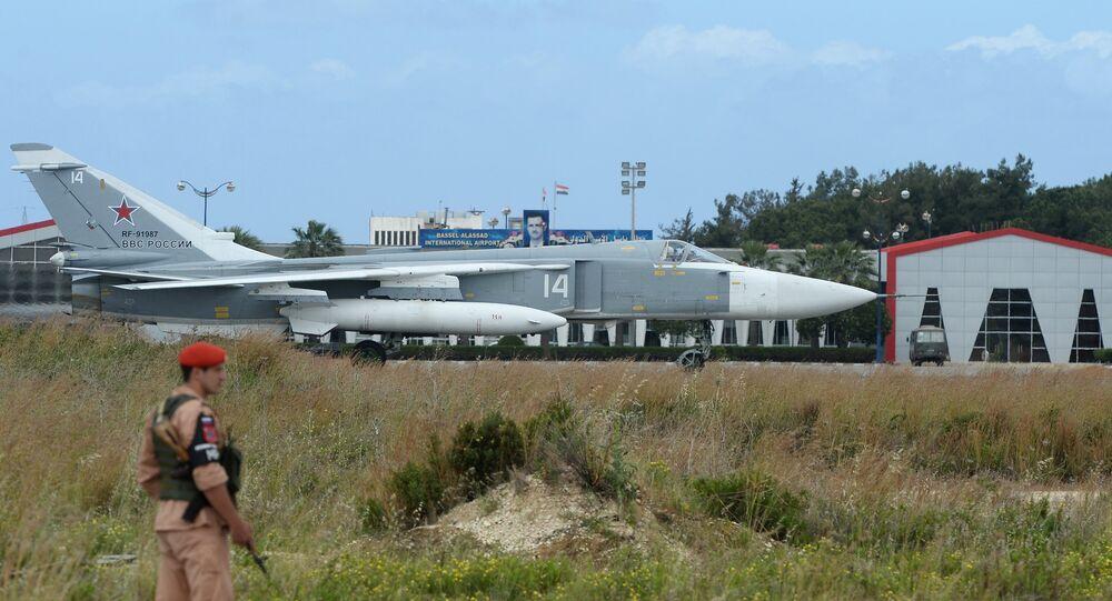 Base aérea russa de Hmeymim, Síria (foto de arquivo)