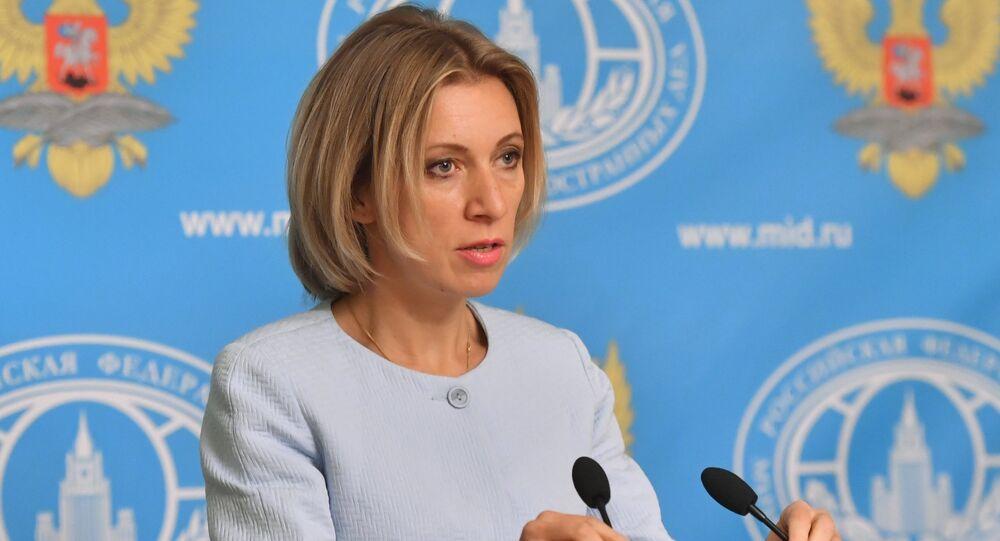 Representante oficial da chancelaria russa, Maria Zakharova, durante a entrevista coletiva em Moscou, Rússia, 15 de setembro de 2016