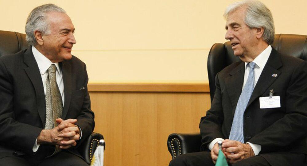 Presidente Michel Temer durante reunião bilateral com o presidente da República Oriental do Uruguai, Tabaré Vázquez
