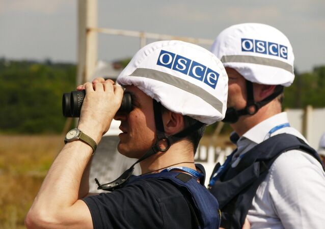 OSCE inspectors examine the territory of the Donetsk filter plant, situated on the contact line between Yasinovataya and Avdeyevka in Donbass, which was heavily shelled by the Ukrainian army